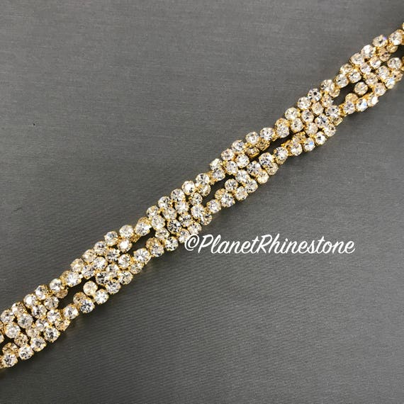 Thin Twisted Rhinestone Trim #T-3