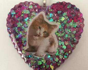 Heart Shaped Calico Kitten Necklace or Key chain