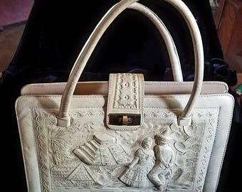 Vintage Mexican tooled leather handbag in excellent condition