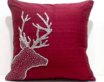 Red Deer Pillow Cover,Holiday Pillow Covers,Christmas Decorations,Red Christmas Decor,Holiday Decor,Holiday Pillows 16x16