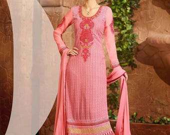 Indian Pakistan Bollywood  Designer Women Ethnic Pink Colored Cotton Salwar Suit Salwar Kameej Anarkali Dress Women Dress