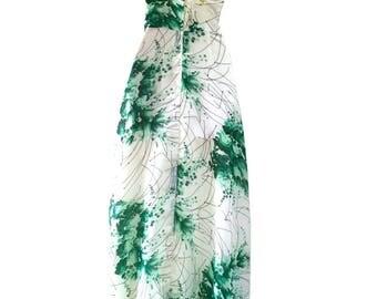 70s Vintage Coastal Fern Garden Cross Over Back Boho Maxi Dress, Summer dress, Sun Dress