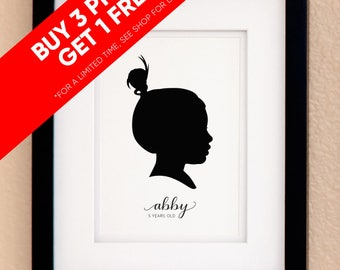 Personalized Silhouette Custom Portrait Print with name – Calligraphy – Buy 3 Get 1 FREE