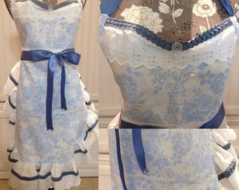 Women's full apron Vintage white and blue ruffle wedding apron gift sur la table napkins vintage button blue ribbon ties ruched bodice