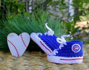 Baby SHOES, Baby Baseball shoes, Chicago CUBS inspired converse shoes (Handmade by me and not affiliated with the MLB)