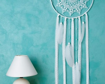 White Dream Catcher Crochet Doily Dreamcatcher large dreamcatcher wedding  dreamcatchers nursery decor wall hanging wall decor
