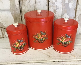 Vintage Red Canister 3pc. Set, Retro Kitchen, Country Kitchen