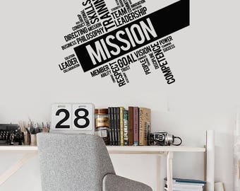 Office Words Cloud Vinyl Wall Decal Mission Inspirational Decor Stickers Mural (#2573di)