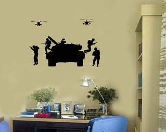 Military Vinyl Wall Decal Tanks Helicopters Soldiers War Art Room Decor Stickers Mural (#2715di)