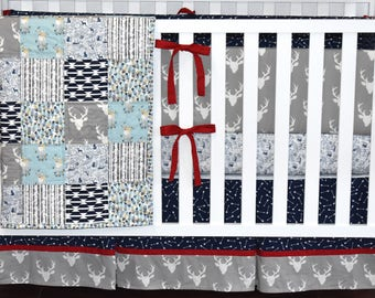 SHIPS TOMORROW - Woodland Crib Bedding, Navy and grey, Navy Gray and red, Baby boy nursery, woodland nursery, quilt, bumpers, skirt, sheet
