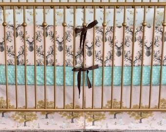 3 PIECE SET - Autumn Fawn Crib Set, quilt, modern bedding, crib bedding, fawn, deer, woodland bedding, nursery, baby girl nursery