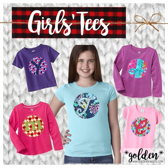 Long Sleeve Girl CYBER MONDAY 2017 SALE!  Applique Initial or Number Long Sleeve Tee, Shirt, Top, TShirt, Custom, Personalized, Initial
