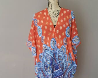 Sale! Sheer Burnt Orange Middle Eastern Print Kimono Cover up