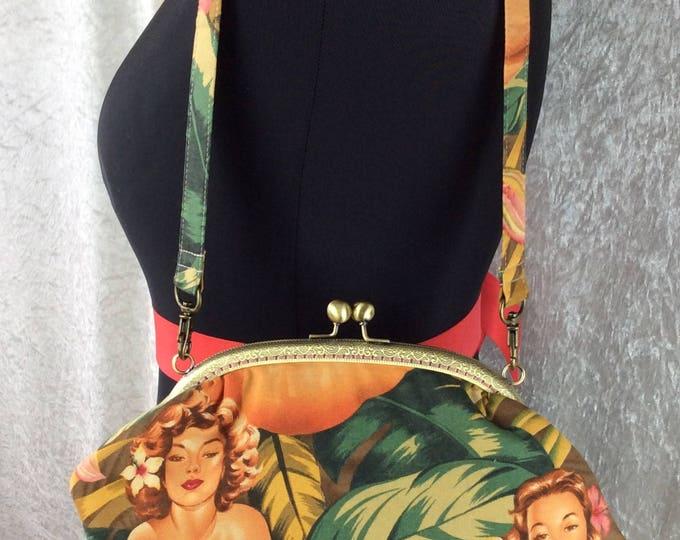 Burlesque Pin Up Mirage Grace frame handbag bag Alexander Henry design fabric purse clutch handmade in England