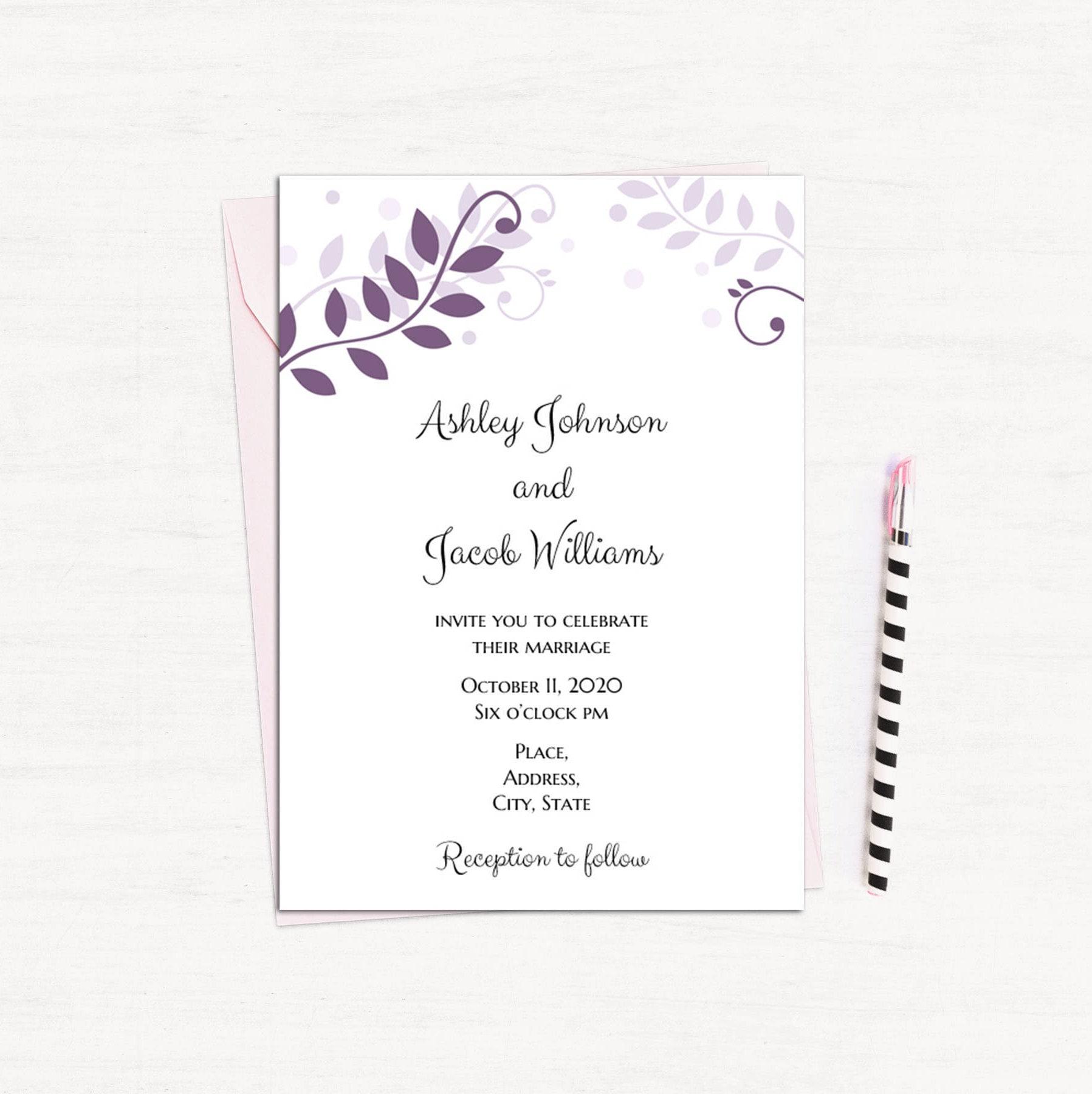 Plum invitation printable Purple wedding invitation card diy ...