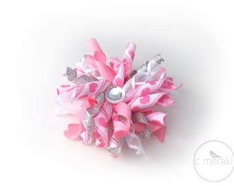 Pink Hearts Korker //Hair Bow Clip