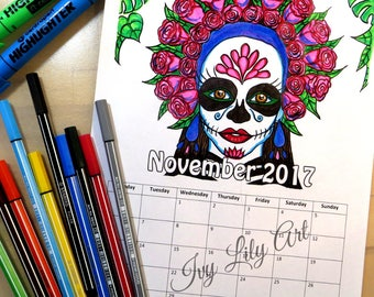 Printable Coloring Calendar November 2017 | Sugar Skull Girl | La Calavera Catrina | PDF Download