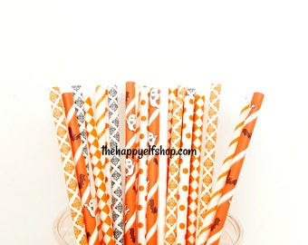 Ghost straws. halloween straws. halloween decor. orange and black straws. halloween. halloween party. kids halloween decor. halloween