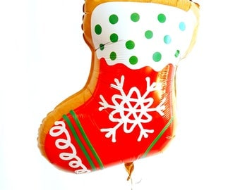 """27"""" Stocking cookie balloon. cookie balloon. Holiday cookie balloons. Christmas balloon. cookie decor. cookie exchange. cookies. xmas cookie"""