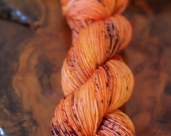 """Hand Dyed """"Wild Tiger Lily"""", 4 Ply Sock, Knitting, Crochet, Speckles, Yarn"""