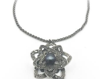 Silver Flower Necklace | Silver & Pearl Necklace | Garden Jewelry | Botanical Jewelry | Pearl Jewelry | Flower Pendant | Metal Clay Jewelry