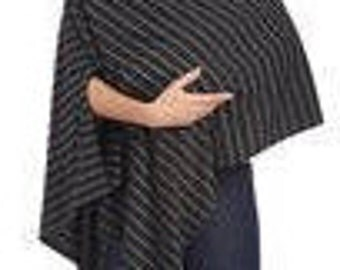 Black and Charcoal Wide Stripe Slit Sleeve Nursing Privacy Poncho