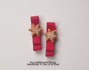 Christmas Cookies   Hair Clips for Girls   Toddler Barrette   Kids Hair Accessories   Red Grosgrain Ribbon   No Slip Grip   Holidays