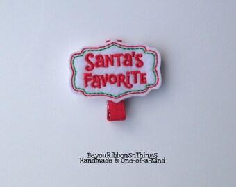 Santa's Favorite | Hair Clip for Girls | Toddler Barrette | Baby | Kids Hair Accessories | Red Grosgrain Ribbon | Felties | No Slip Grip