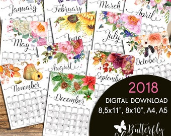 Monthly Planner 2018, Calendar printable, Chic PDF Planner, Trending Now PDF small desk calendar, Planner inserts, 8x10, A4, 8,5x11 A5 Pages