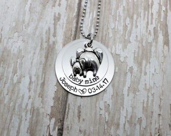 Hand stamped personalized Baby Mine necklace / mommy necklace / mom and baby elephant / dumbo inspired / elephant butts