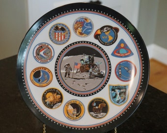 Texasware Melamine Moon Landing Plate/Apollo Space Mission/ Collector Plate/ Decorative Plate/ Moon Mission