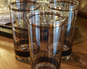Set of 3 Vintage Culver Highball Black and Gold Glasses/ Vintage Barware/ Retro Barware