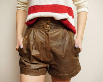 Vintage Real Leather Shorts Pants High Waist size XS/S