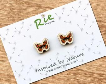 Wooden Butterfly Earrings, Wood Small Tortoiseshell Butterfly Stud Earrings, Insect Jewellery Studs