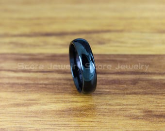 FREE SHIPPING FREE Custom Engraving Classic 6mm Black Tungsten Band with Domed Edge Wedding Band 6mm Black Tungsten Wedding Ring Black Ring