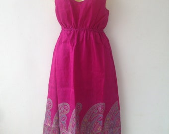 Silk Dress made from Re-Purposed Silk Saris from India // Pink Dress // Medium dress // summer dress  / boho summer