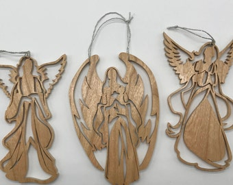 Angel Trio Ornament Set - Cherry