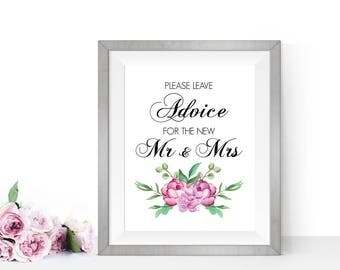 Wedding advice sign, PRINTABLE Wedding signs, Wedding reception signs, Mr and Mrs sign, Well wishes sign, Wedding wishes