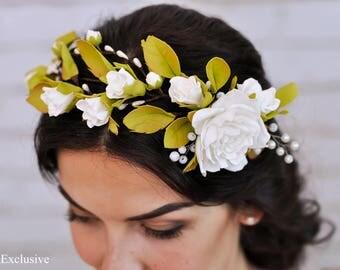 Gift for coworker Bridal flower crown Rustic wedding crown Bridal flower hairpiece Boho flower crown wedding Floral headband Gardening gift