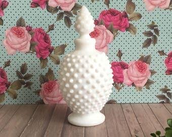 Hobnail Milk Glass - Vintage Fenton - Home Decor - Perfume Bottle - Cottage Chic Decor - Gift for Her - Vanity Decor - Kitchen Decor