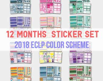 Yearly Planner, Yearly Planner Stickers, Yearly Stickers, 2017 Yearly Planner, Planner Stickers, Stickers, Life Planners, 12 Months Set