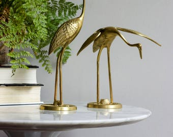 Pair Of Vintage Brass Herons