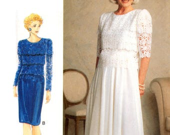 90s Vogue 9476 Lined Evening, Formal, Mother of the Bride Dress with Straight or Flared Skirt, U/C, Factory Folded, Sewing Pattern Size 6-10