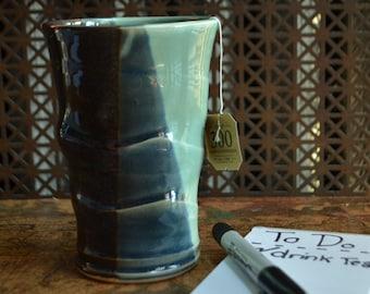 Dark Blue & Light Green Ceramic Cup, wheel thrown