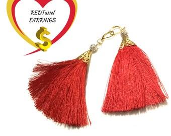 Stunning Red Tassel Earrings, Gold filigree Tassel Earrings, On trend Earrings,On trend Gift, Party Earrings,On Trend Gift, Stylish Gift,