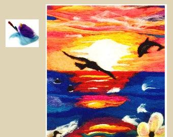 Unframed Needle Felted Fibre Art, Tropical Felt Tapestry, Genuine Hand Crafted Art, Original Sunset Felting, Needle Felted Unframed Art