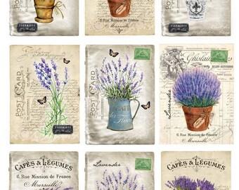 Digital Image Provance Lavender Cards 2 - Digital collage sheet, Printable Download, Digital Tags, Digital Vintage, ATC Card, Vintage Cards