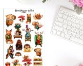 Tea Party Planner Stickers | Animal Tea Party | Alice in Wonderland Stickers | Tea Stickers | Animal Stickers | Cute Tea Party (S-311)