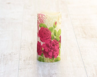 Unique Floral Pillar Candle, LED Candle with Floral Print, Floral Home Decor, Botanical Home Decor, Botanical Flameless Candle