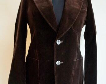 Vintage Mens Velvet Jacket / Smoking jacket / Blazer / Coat / Suit / Dark Brown / Medium / M / Evening / Retro / Outwear / Made in Finland